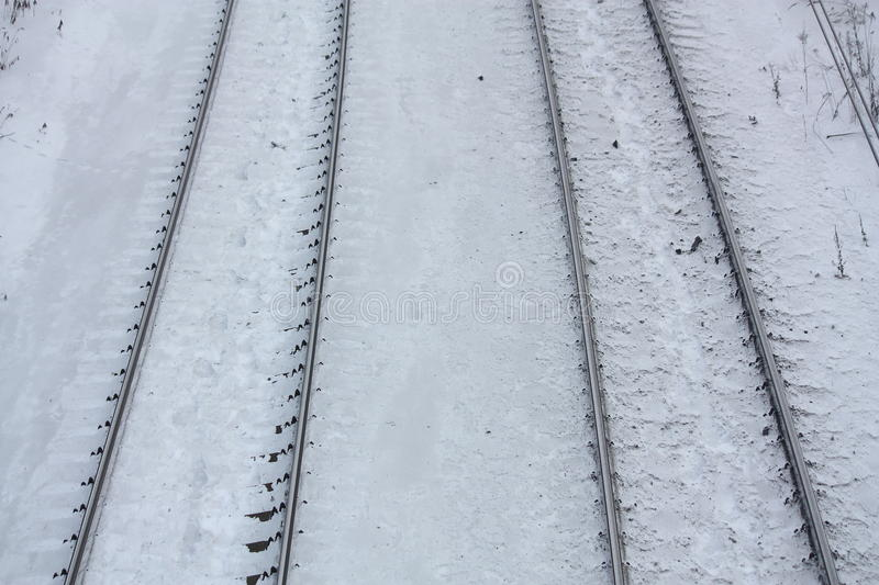 Close up of railroad in winter. Snow stock photos