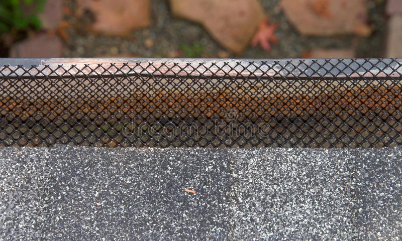 Close up of rain gutter on home covered in mesh to keep leaves out royalty free stock image