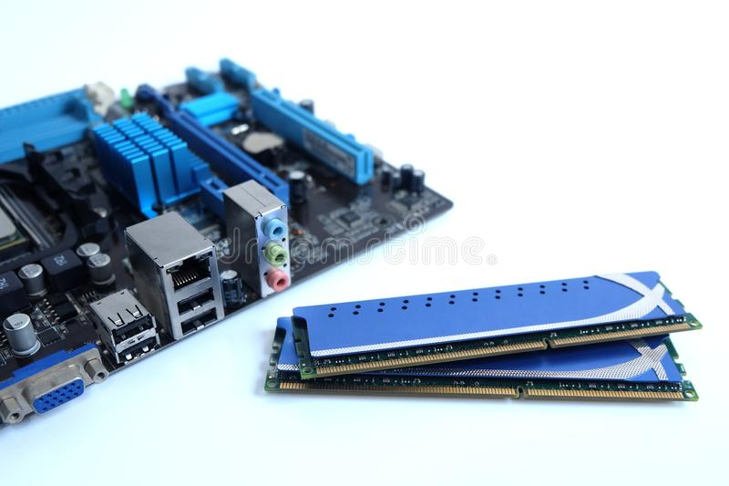 Close up ram and motherboard, parts computer pc royalty free stock image