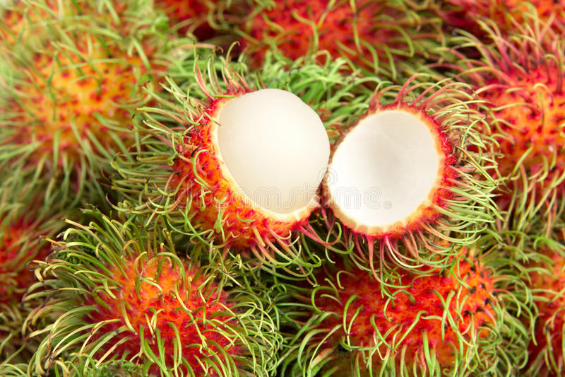 Close up rambutan fruit. Close up the rambutan fruit stock image