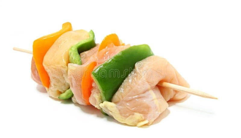 Close Up Of Raw Chicken Kebab royalty free stock image