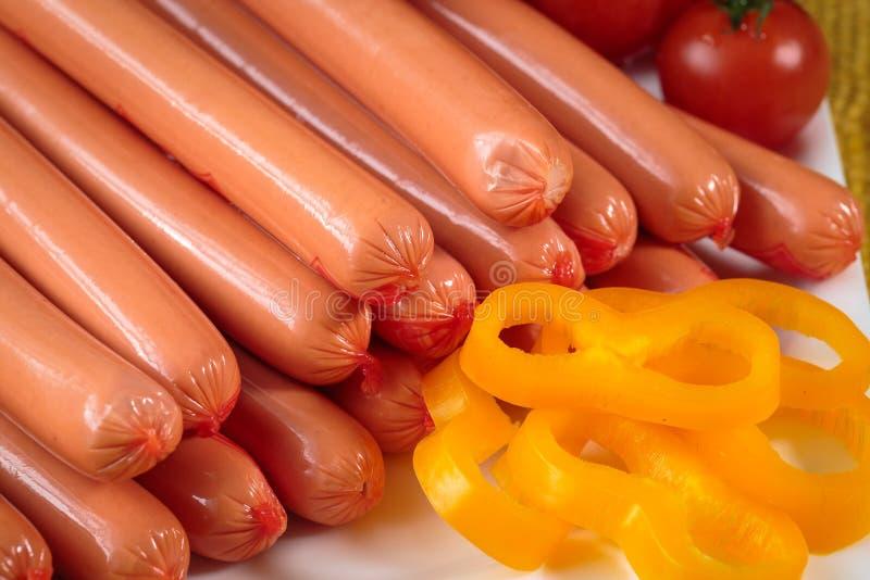 Close up of raw frankfurter sausages stock photography