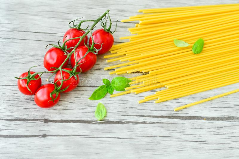 Raw spaghetti. Pasta ingredients stock image