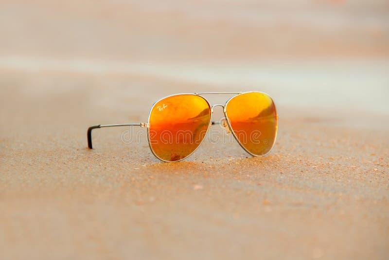 Close-up of Rayban Sunglasses royalty free stock image