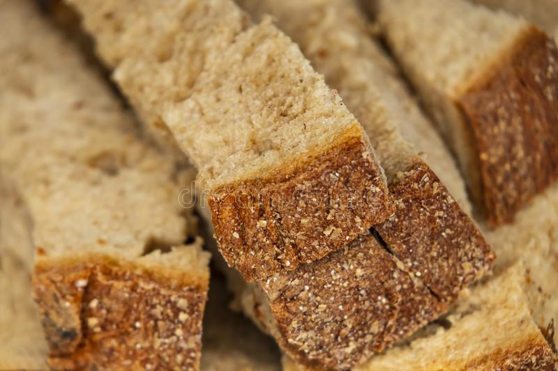 Close up breads on market stall. Close up ready to eat breads on market stall royalty free stock image