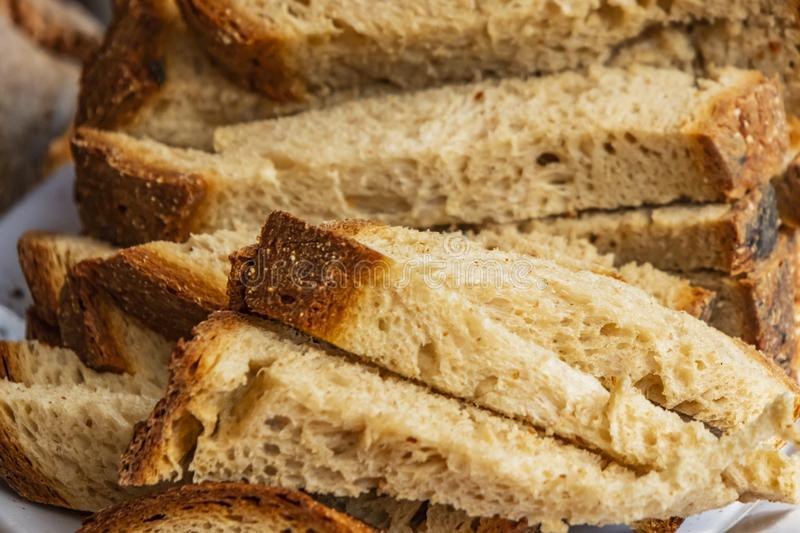 Close up breads on market stall. Close up ready to eat breads on market stall royalty free stock photos