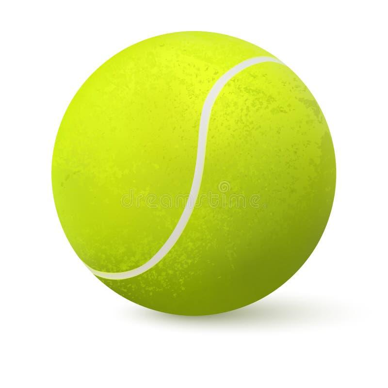 close up realístico da bola de tênis 3d isolado no fundo branco Fim realístico verde do projeto do clipart da bola de tênis acima ilustração stock