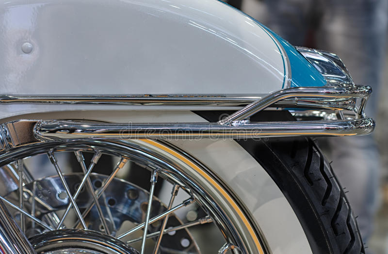 Close up rear fender of motorcycle, indoor photo. royalty free stock images
