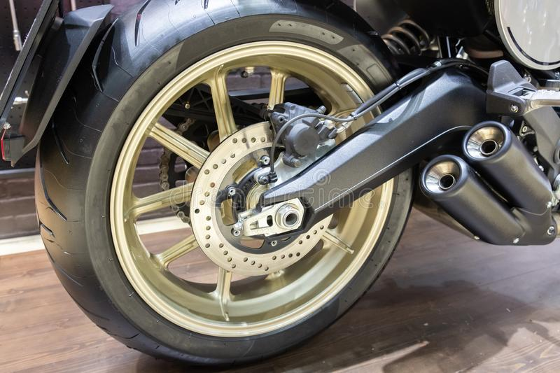 Close up of rear motorcycle wheel royalty free stock images