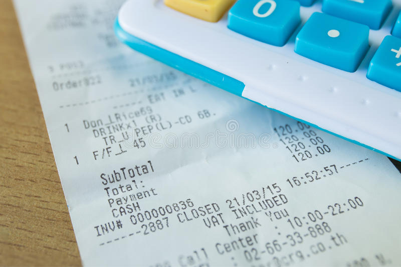 Close up of receipt paper, focus text cash royalty free stock photo