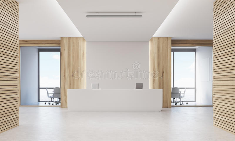 Close up of reception desk in light wood corridor royalty free illustration