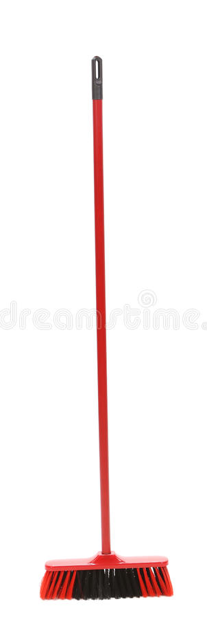 Close Up Of Red Black Broom. Stock Photo