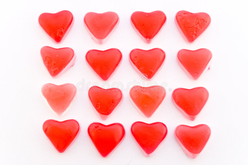 Download Close Up Red Candy Hearts In Square Stock Image - Image: 3998645