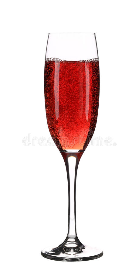 Close up of red champagne glass. stock photo