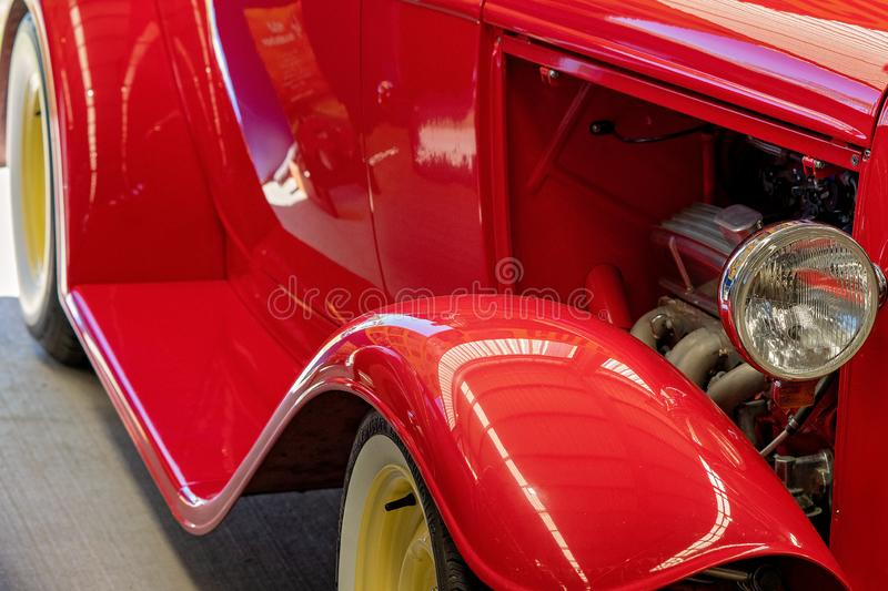 Close Up Of Red Hot Rod Vintage Car royalty free stock photography