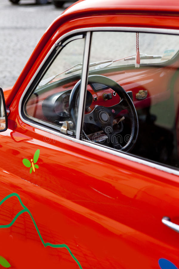 Download Close-up On A Red Mini Vintage Car's Wheel Stock Image - Image: 13326247