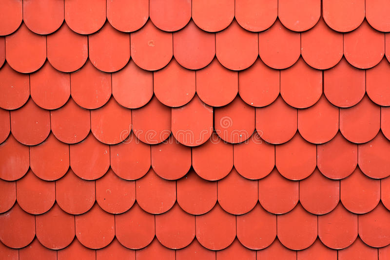 Close up of red roof texture tile for background stock photo