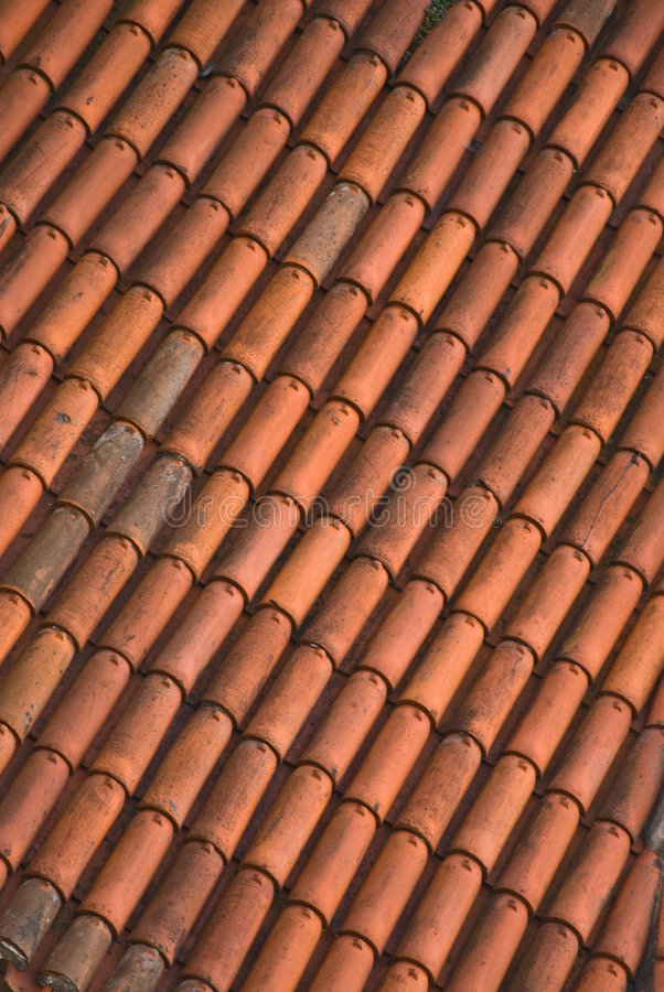 Close up of red roof tiles