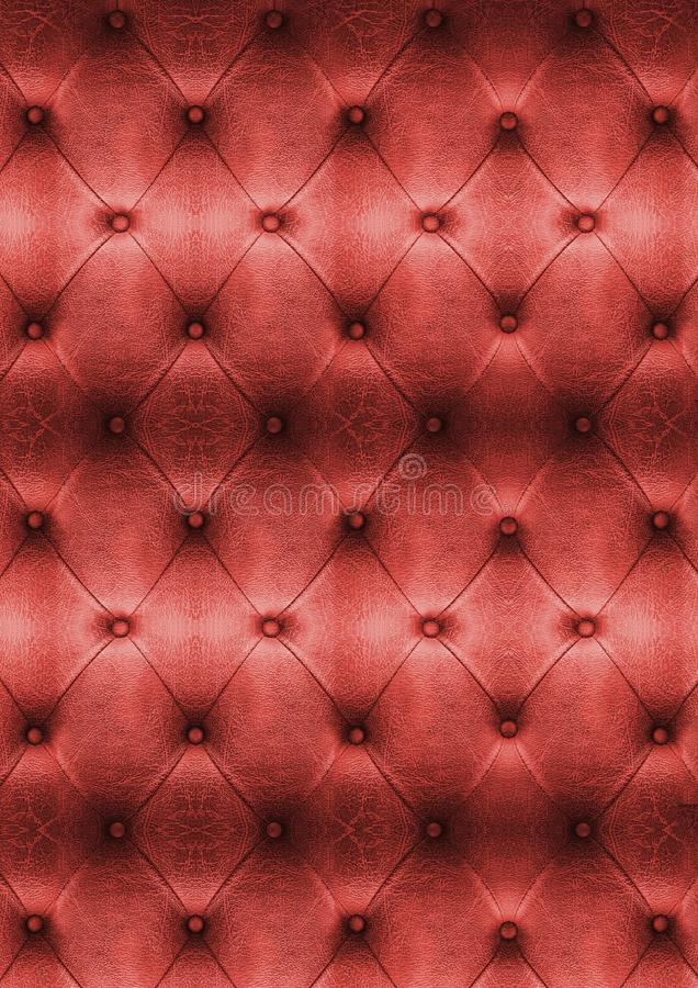 Close up red vintage sofa leather texture stock photography