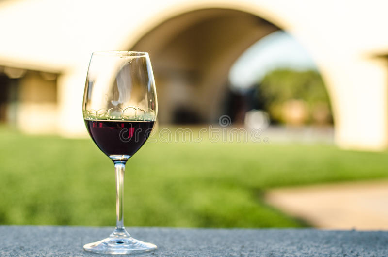 Close-up Of red wine glass royalty free stock image