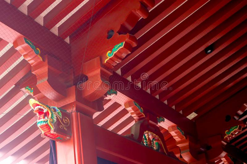 Closeup of red wooden structure of temple roof Japanese style in royalty free stock image