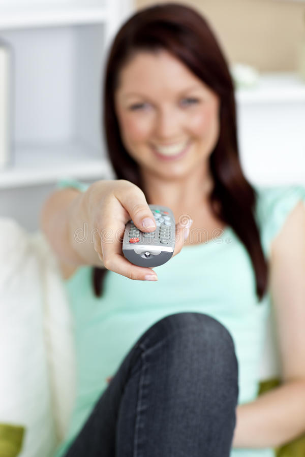Download Close Up Of A Remote Hold By A Beautiful Woman Stock Image - Image: 15519267