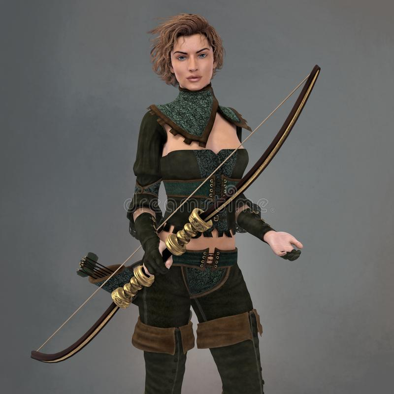 Render of a Beautiful Fantasy Ranger Woman with a Quiver and holding a Bow. Close up render of a 3D fantasy ranger style woman with a quiver and holding a bow vector illustration