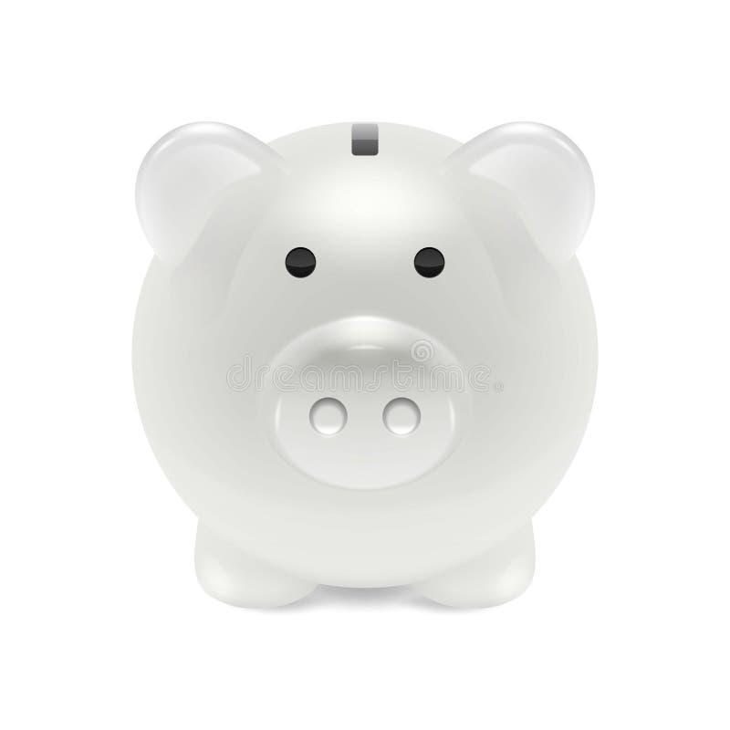 Close up retro branco realístico do mealheiro 3d do vetor isolado no fundo branco Molde do projeto do porco do dinheiro para ilustração stock