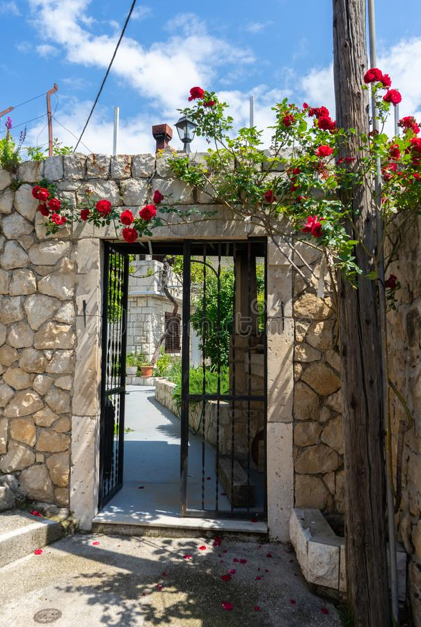 Close up retro style old house door of Mediterranean architectural culture. Metal fence entrance facade with stone wall and roses. In the top, red, nature royalty free stock photo
