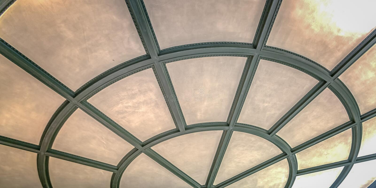 Close up of ribbed ceiling with radial pattern stock photos