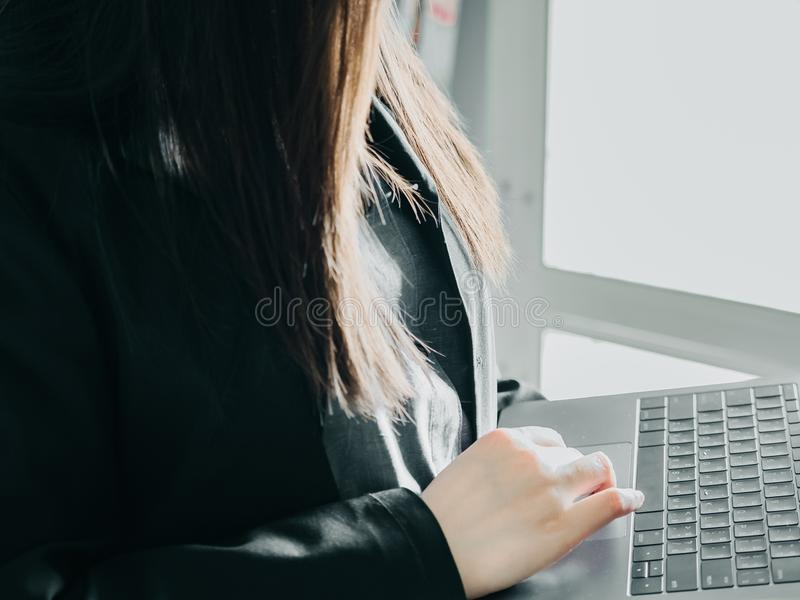 Close up right hand of asian business woman30s to 40s with tex royalty free stock image