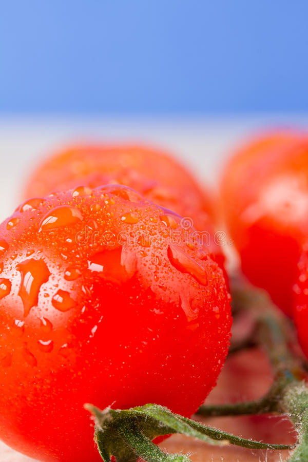 Close up ripe cherry vine tomatoes. On a table with blue sky background royalty free stock images