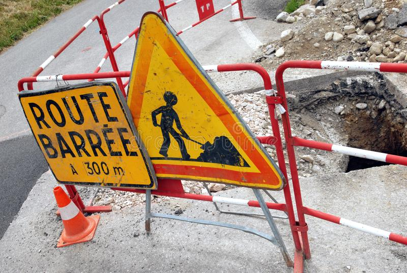 Road signs indicating a blocked road in french. Close up on a road under construction with signposts vector illustration