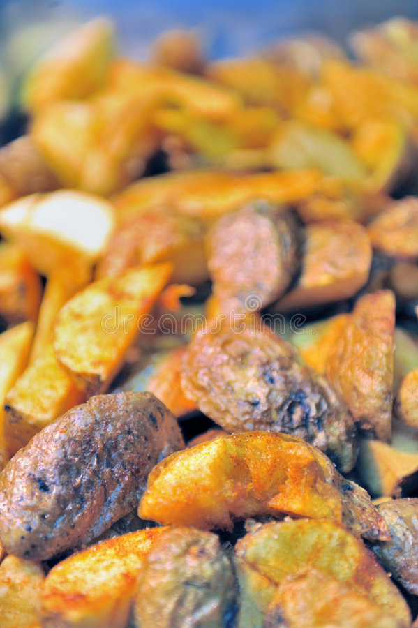 Close up of roast potatoes royalty free stock images