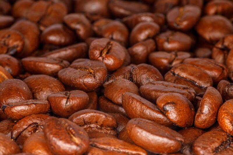 Close-up of roasted coffee beans stock photography
