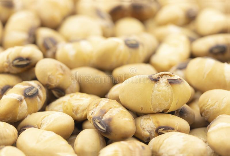Close up of roasted soy beans for background stock photo