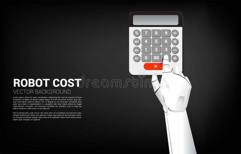 Close up Robot hand touch button on calculator. vector illustration