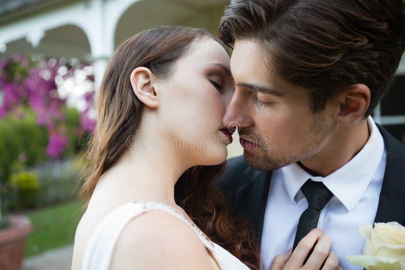 Close up of newlywed couple kissing at park stock photos