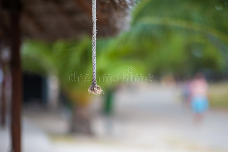 Close-up rope, hanging rope, pull the rope the door opens.  royalty free stock photos