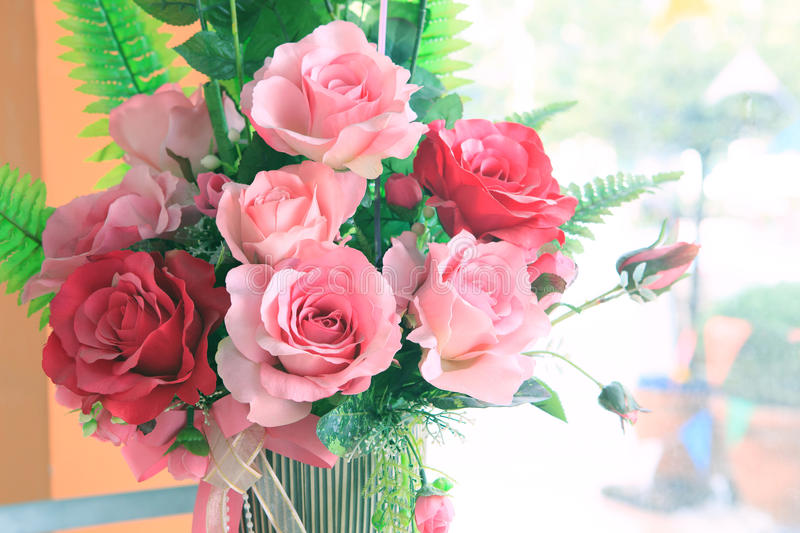 Close up of roses flowers bouquet decorated in home interior wit stock images