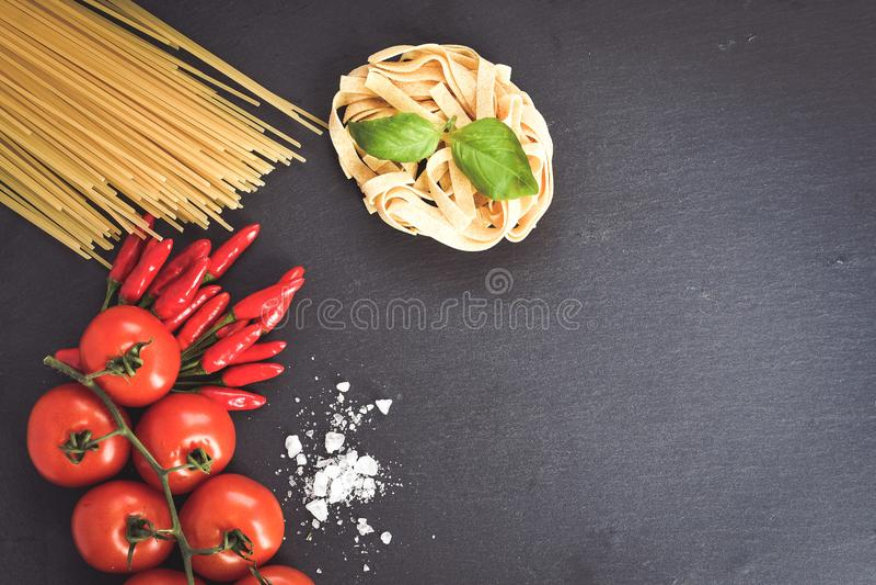 Fresh pasta ingredients stock photo
