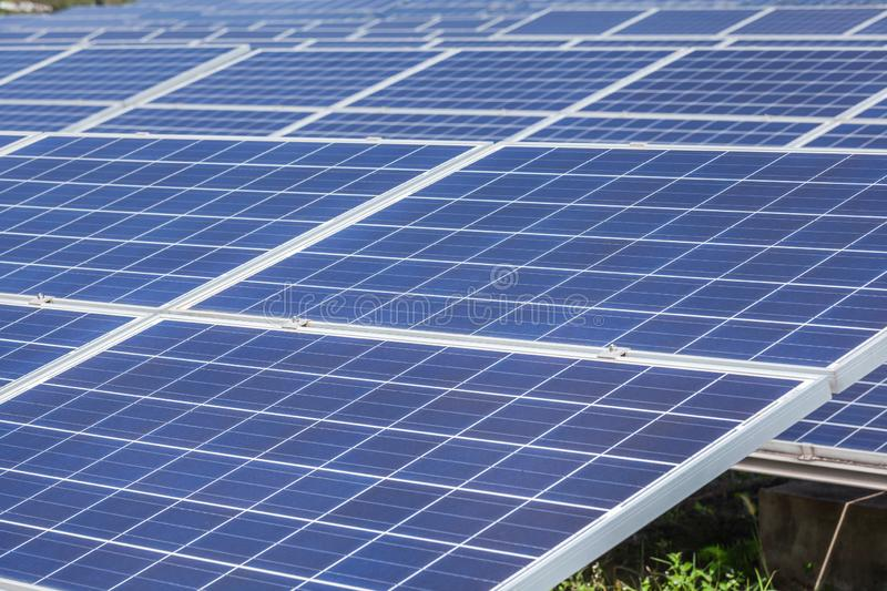 Close up rows array of polycrystalline silicon solar cells or photovoltaics cell in solar power plant station. Systems convert light energy from the sun into stock photo