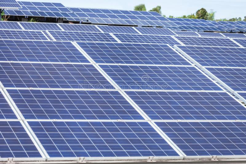 Close up rows array of polycrystalline silicon solar cells or photovoltaics cell in solar power plant station. Systems convert light energy from the sun into stock photos