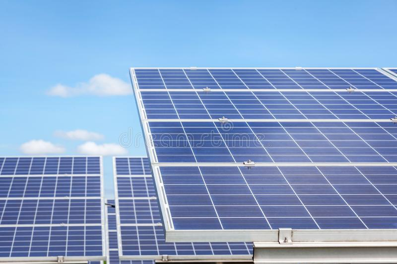 Close up rows array of polycrystalline silicon solar cells or photovoltaics cell in solar power plant station. Systems convert light energy from the sun into royalty free stock photos
