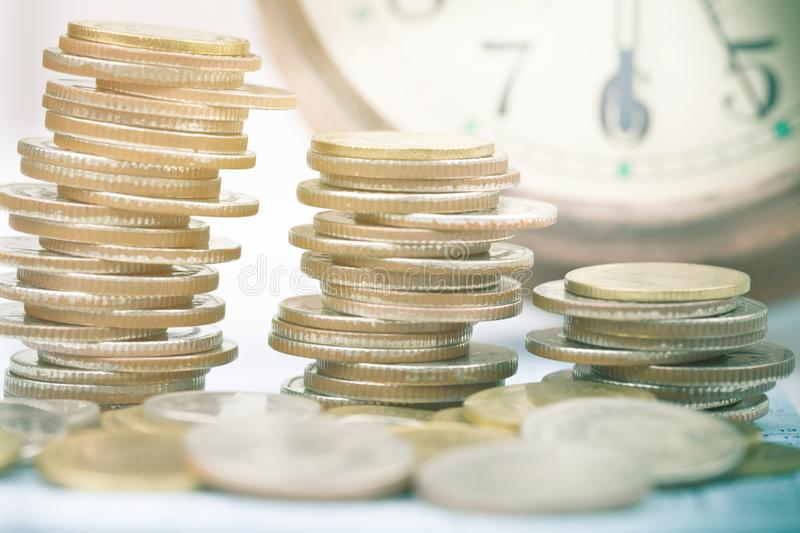 Close up of rows coins for finance royalty free stock images