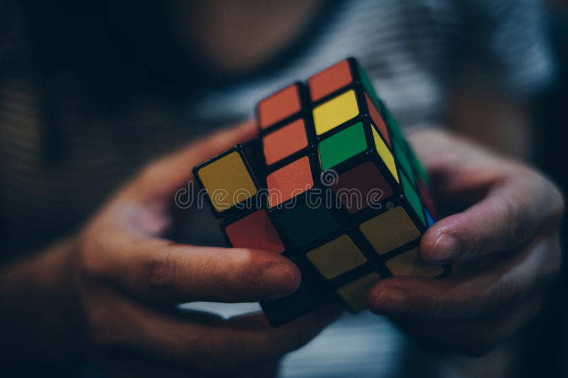Close up of Rubik`s Cube. KORONADAL CITY, PHILIPPINES – JANUARY 28, 2017: Rubik`s Cube was invented in 1974 by Hungarian sculptor and professor of stock image
