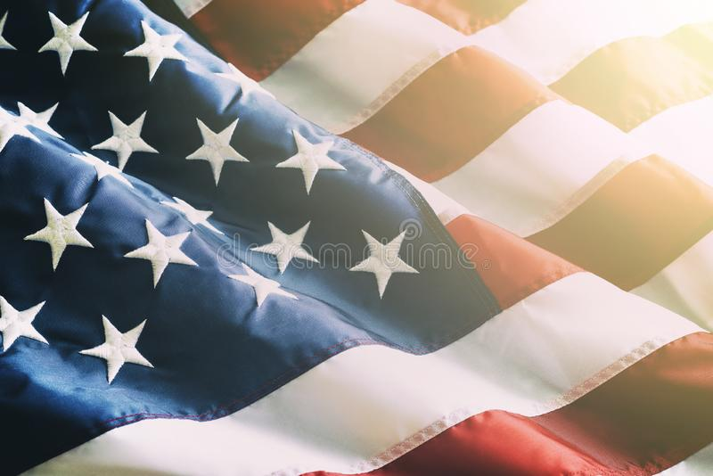 Close up ruffled American flag stock photo
