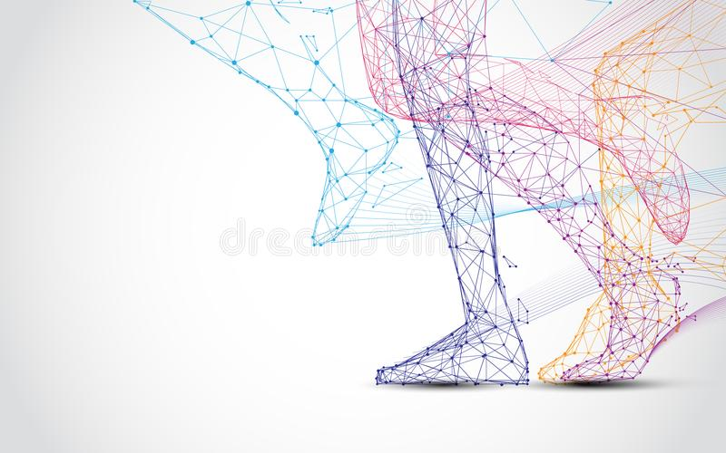 Close up of runner s legs run form lines and triangles, point connecting network on blue background. Illustration vector stock illustration