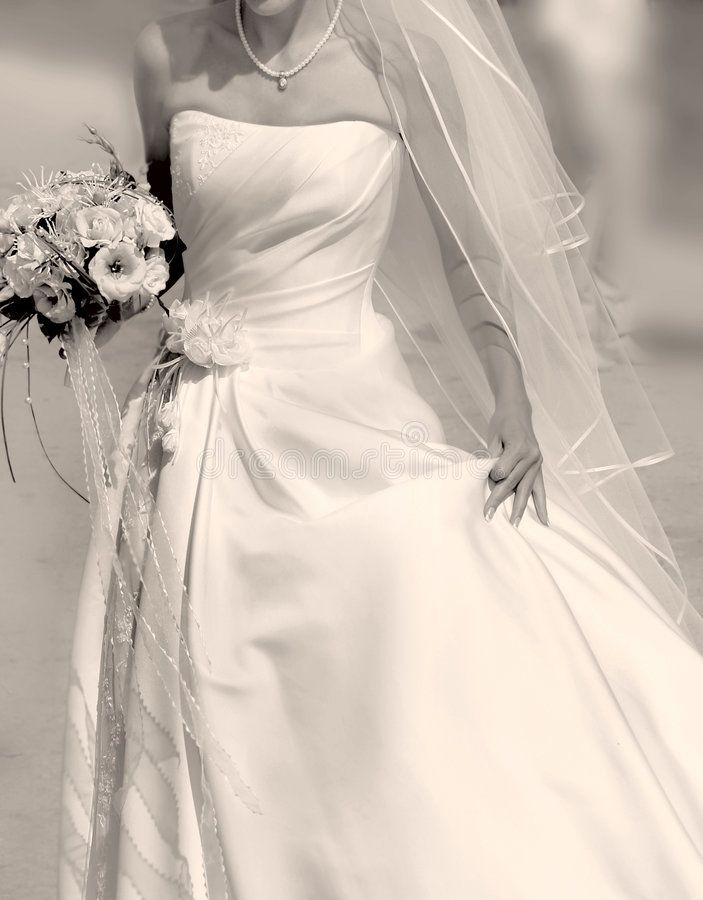 Close up of running bride stock photo