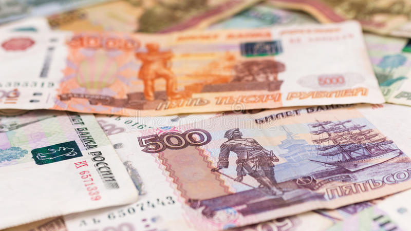 Close-up of Russian rubles, money background. royalty free stock image
